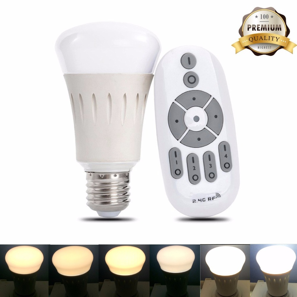 Remote Control LED Light Bulbs Dimmable Color Temperature Adjustable 60 Watt Equivalent Indoor/Outdoor Lighting Lamp for Meetin