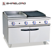 Economical European Barbecue Grill Commercial Hot Sale Free Standing Gas Griddle with Lava Rock with Cabinet