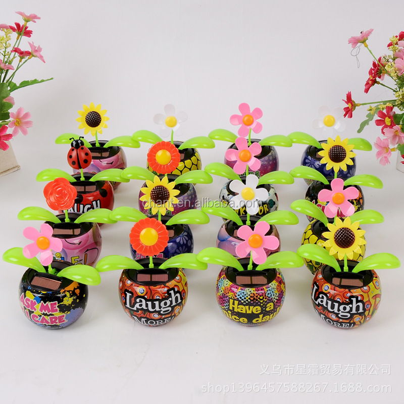 Solar power variety flower petals automatic swing sunflower coloured drawing auto accessories solar lights for crafts