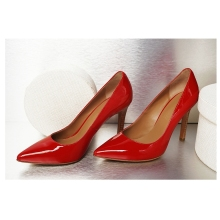 A120 patent leather sexy high quality big size genuine leather fashion ladies high heel shoes
