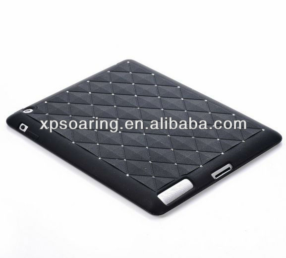 Fashion cover for ipad 3 ipad 4 diamond silicon case back cover