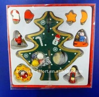 Wooden christmas standing decorations, santa & snowman design