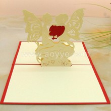 Wholesale custom design three-dimensional cartoon angel heart greeting cards