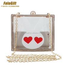 Color Printing Clear Acrylic Box Clutches Mini Evening Party Purse Bags detachable metal chain