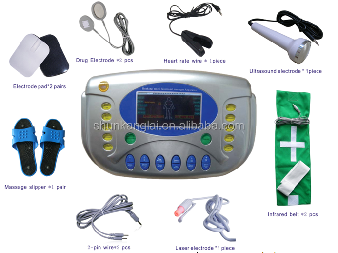 9 output Multi-functional massager apparatus/bioelectrical pulse/infrared heating/Laser Ultrasound therapy/heart rate test