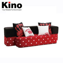 American style Red and white dots sofa cum bed design, folding mattress, foam fabric living room furniture
