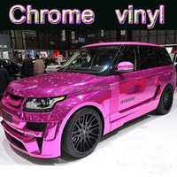 Purple Pink 3m Mirror Reflective Chrome vinyl wrap roll film/PVC car body sticker with air release channel/Self adhesive1.52*30m