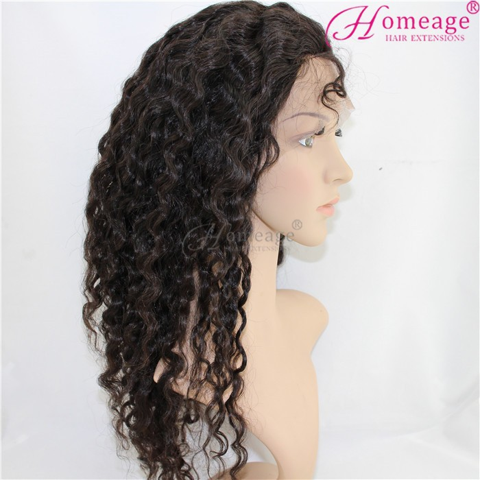 Homeage 2015 hot selling brazilian curly half wigs tangle free human hair wig