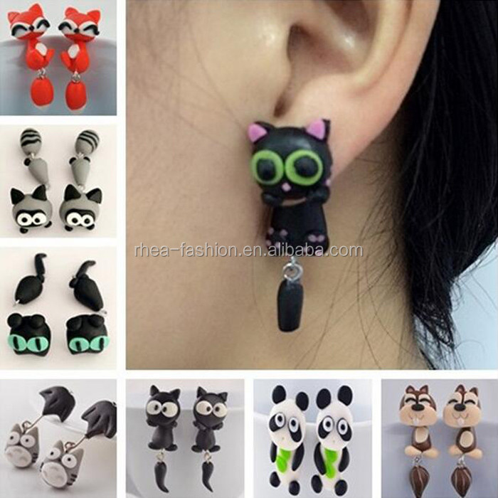 Wholesale Fashion Cute Cartoon Cat Rabbit Piranha Squirrel Fox Stud <strong>Earrings</strong> Multiple Animals Girls Creative Fimo <strong>Earrings</strong>