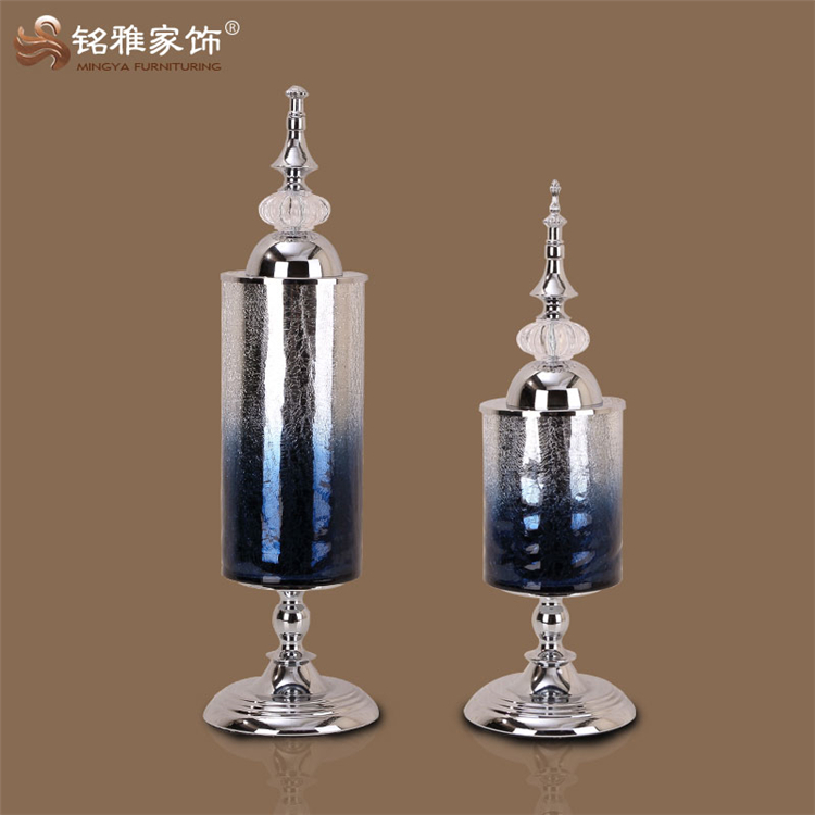 High end christmas decorative furnishing tall glass flower vase with metal stand