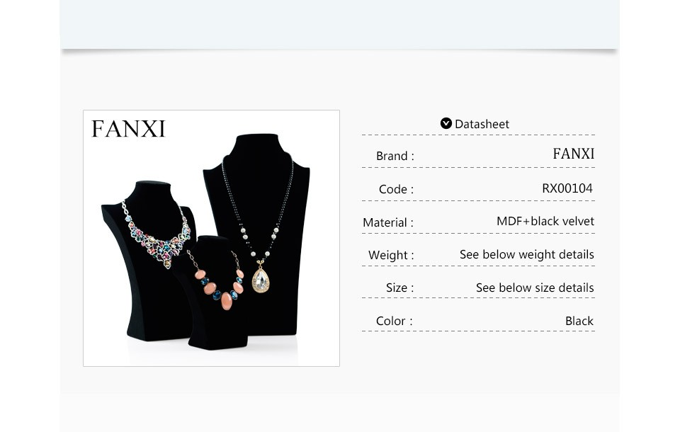 Wholesale factory custom high end wooden pendant jewelry show case mannequins black velvet necklace busts