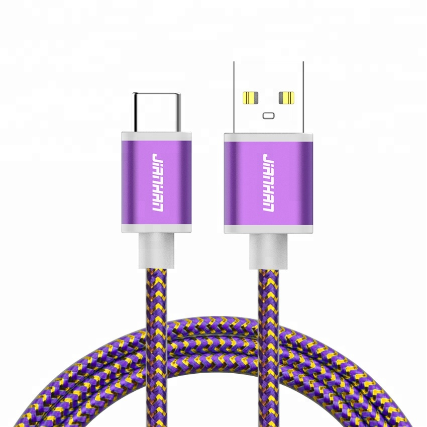 Purple Colorful braided USB 2.0 Type-C Nylon charging cable 5V 2A high speed charge cable