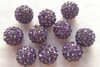 Fashion Crystal Ball Jewelry Findings Crystal Shamballa Beads DIY Beads Purple Color