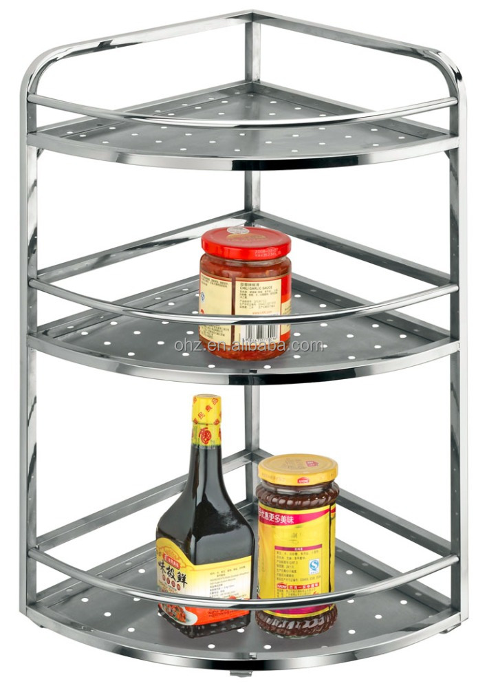 3C Cheap and high quality wall Stainless steel Three tier kitchen corner basket
