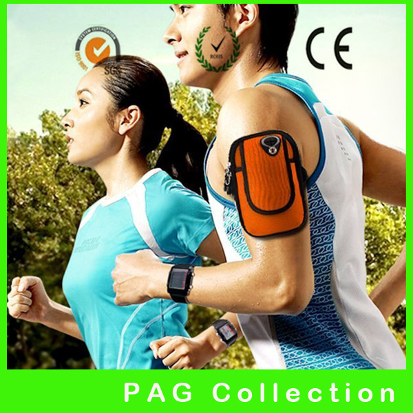 washable 2-pockets neoprene running jogging case sport armband