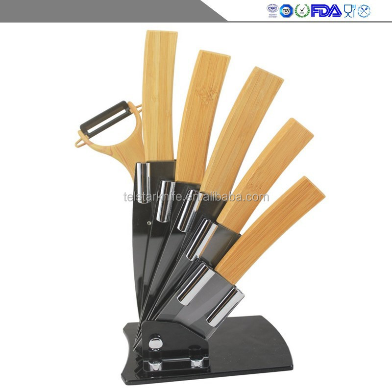 High-grade bamboo handle sharp durable environmental protection kitchen household black knife sets of ceramics
