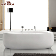 Contemporary Acrylic Bathtub , indoor 1 person hot tub White Stand-Alone Freestanding massage Tub with shower head