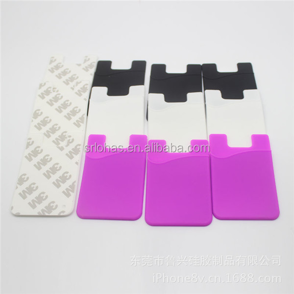Custom silicone card holder attach to the back of smart phone