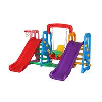 High Quality School Plastic Two Slide Children Indoor Swing Set For Sale