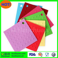 Red Colorful 100% Silicone Square Dot Pot Holder Baking Mat Insulation Mat Cup Coasters