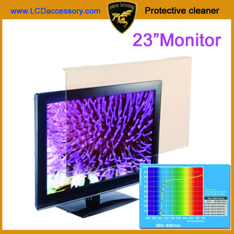 23 inch Anti Blue Ray Light Blocking up to 100% of Hazardous HEV LED screen protector Film Reduces Digital Eye Strain
