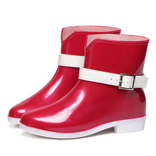 New Style Women Rain Boots Fashion Ladies Ankle Boots Jelly Shoes with Strap