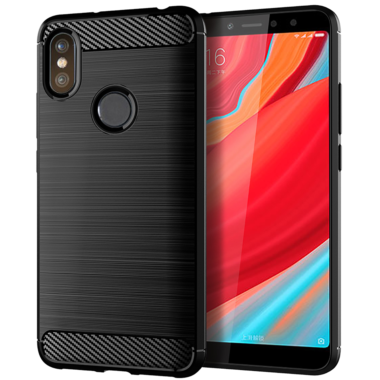 Carbon Fiber Shockproof Soft TPU Case For xiaomi redmi <strong>Y2</strong>