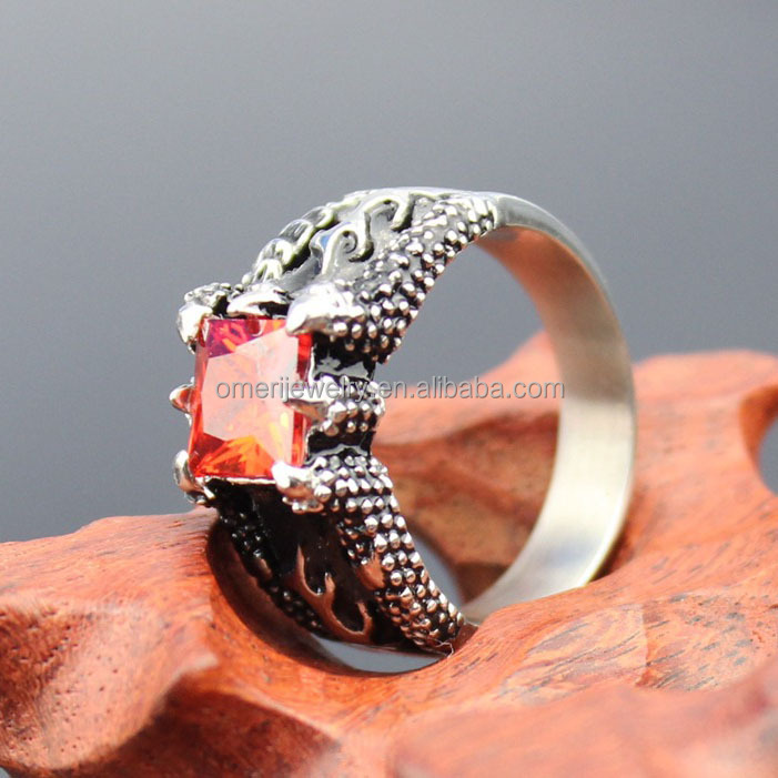 Fire Dragon Claw Set Ruby Red Square Gem Cast Ring Stainless Steel diamond ring