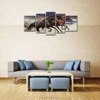 LK5148 5 Panel Combination Three Strong Horses Running Animal Pictures Print On Canvas Modern Wall Art Pictures Prints On Canvas