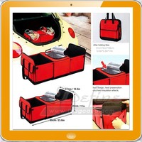 Foldable Multi Compartment Fabric Car Storage Basket Trunk Organizer Cooler Set