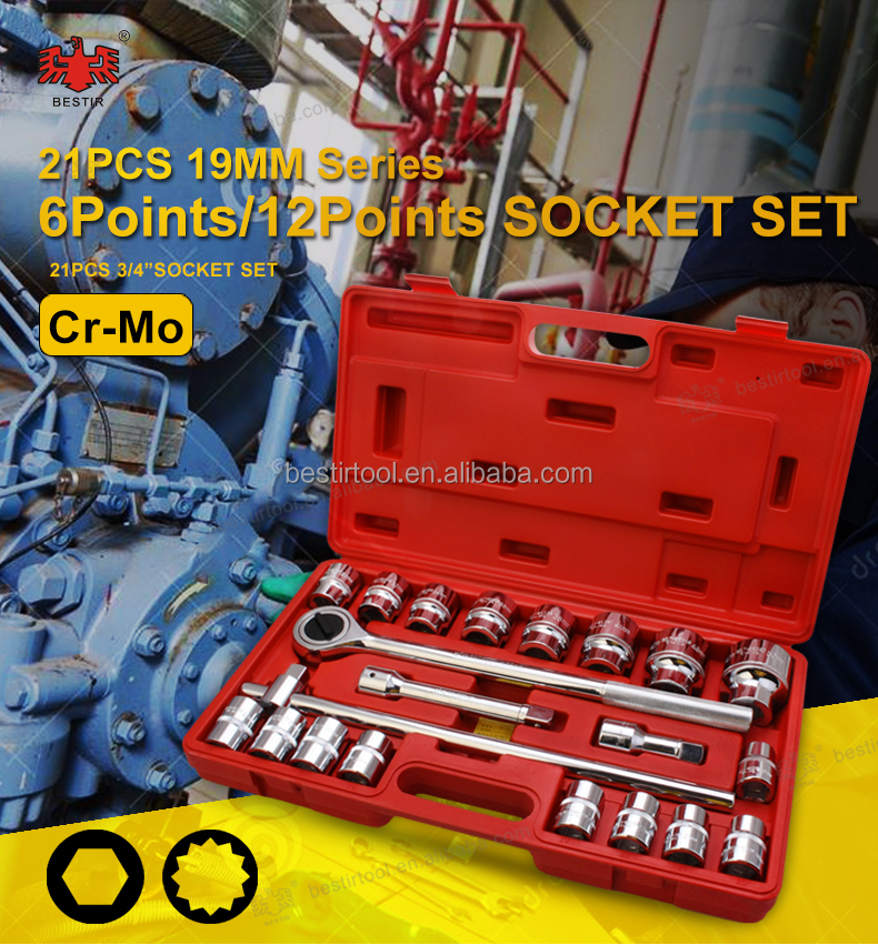 "Bestir Hand Tools -- 21 PCS 3/4"" Drive 19mm Series Cr-Mo Socket Set 6-Points/ 12-Points Sockets"