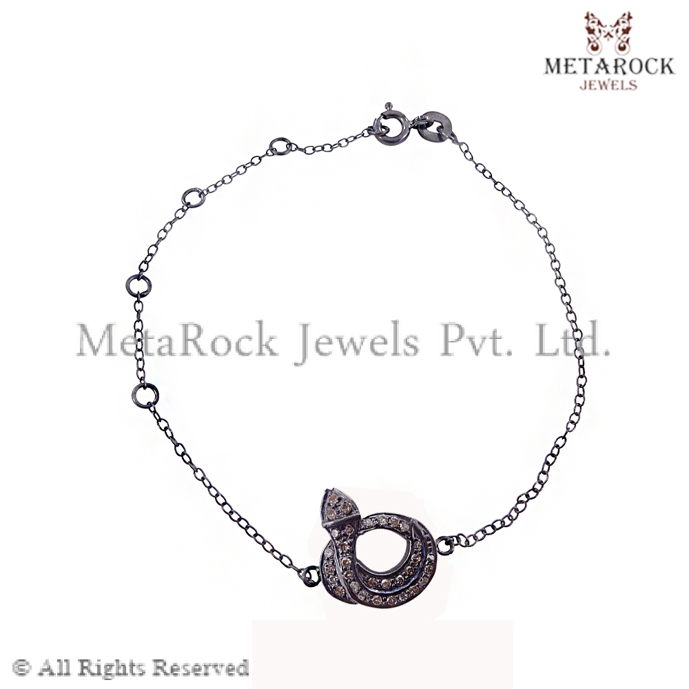 Pave Diamond Snake Design Chain Bracelet Party Wear 100% Handmade Chain Bracelet