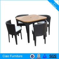Rattan Furniture Teak Wood Table Dining Set