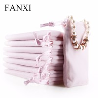 FANXI Chinese Wholesale Custom Velvet Jewelry Bag 50 PCS/Pack Shop Rings Earrings Necklace Drawstring Gift Package Jewelry Pouch