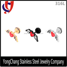 Black/silver/gold 316L Stainless Steel Stud Earring with Heart and Wing Shape for Body Piercing Wholesale