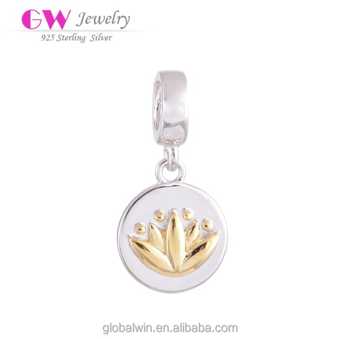 Charm Pendants Round Plated Silver And Gold Plated Pendant Fits European Brand Charm Bracelets