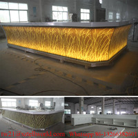 Modern LED Lights Piano Top Cover Designed Corian Acrylic Bar Counter