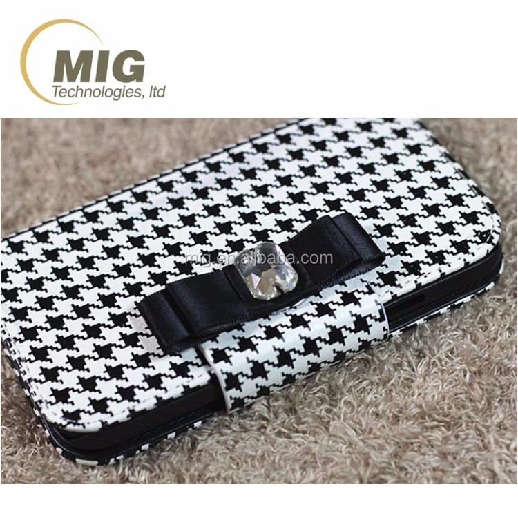 Stylish plaid wallet style leather mobile phone sets For apple iphone 6s case For samsung s3 s4 s5 s6 case