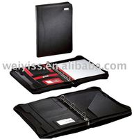 Leather Portfolio/ Agenda/ Notebook/ Organizer 3 Ring Binder with Writing Pad and Zipper