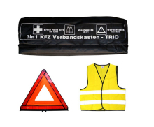 3 in 1 Car Verbandskasten Carry Case-Trio con Giubbotto Riflettente, kit di pronto soccorso, Triangolo di avvertimento