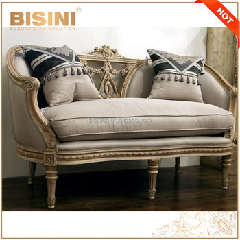 French Retro Living Room Furniture/Solid Wood Carved Natural Linen Chesterfield Sofa/Country Style Provincial Button Tufted Sofa