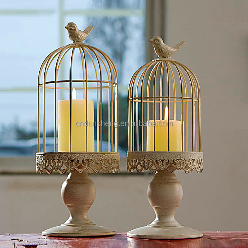 Vintage White Bird Cage Tea Light Iron Metal Candle Holder Candlestick Wedding Table Decor