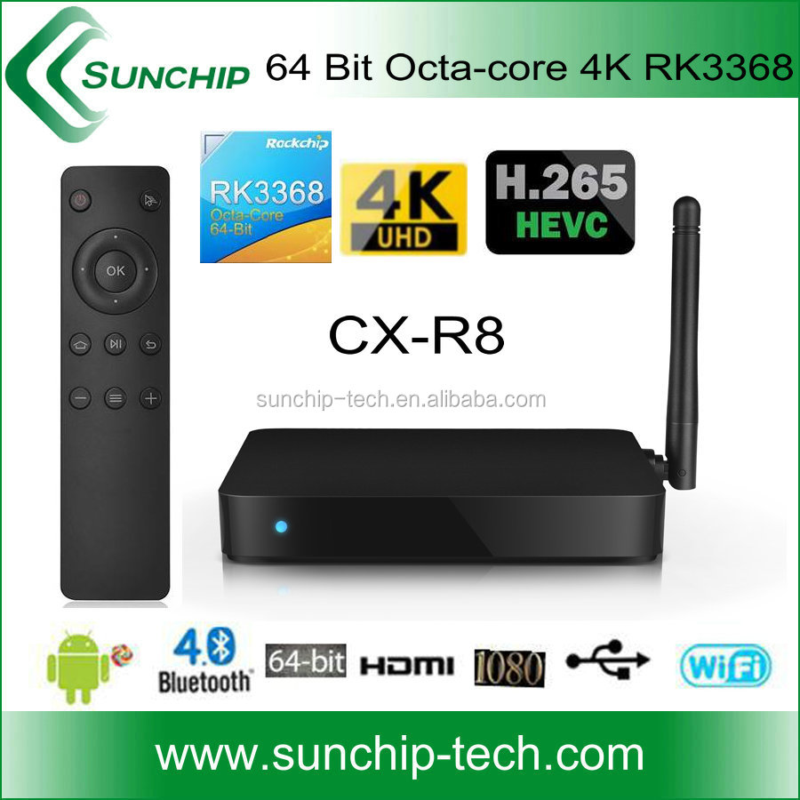 sunchip ,Google Android 5.1 Smart Tv Box Rockchip RK3368 Octa Core android tv box 2.4GHz/5.8GHz Wifi and bluetooth 4.0