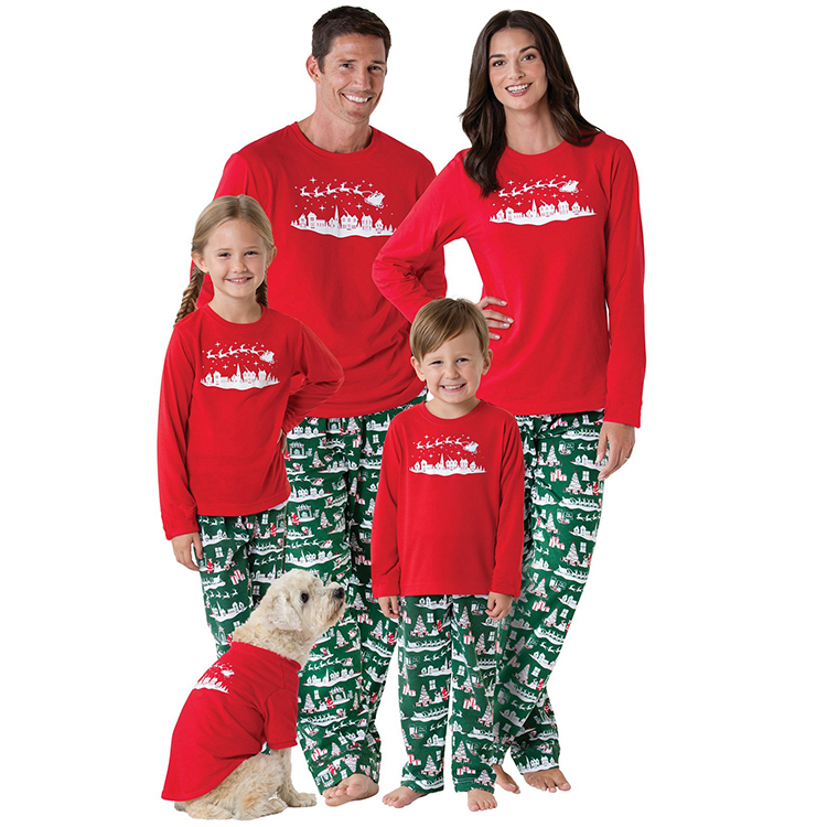 Trendy Winter long Sleeve Pajamas print family matching christmas holiday sleepwear