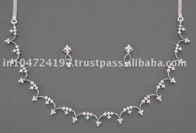 White Gold Necklace set studded with Diamonds