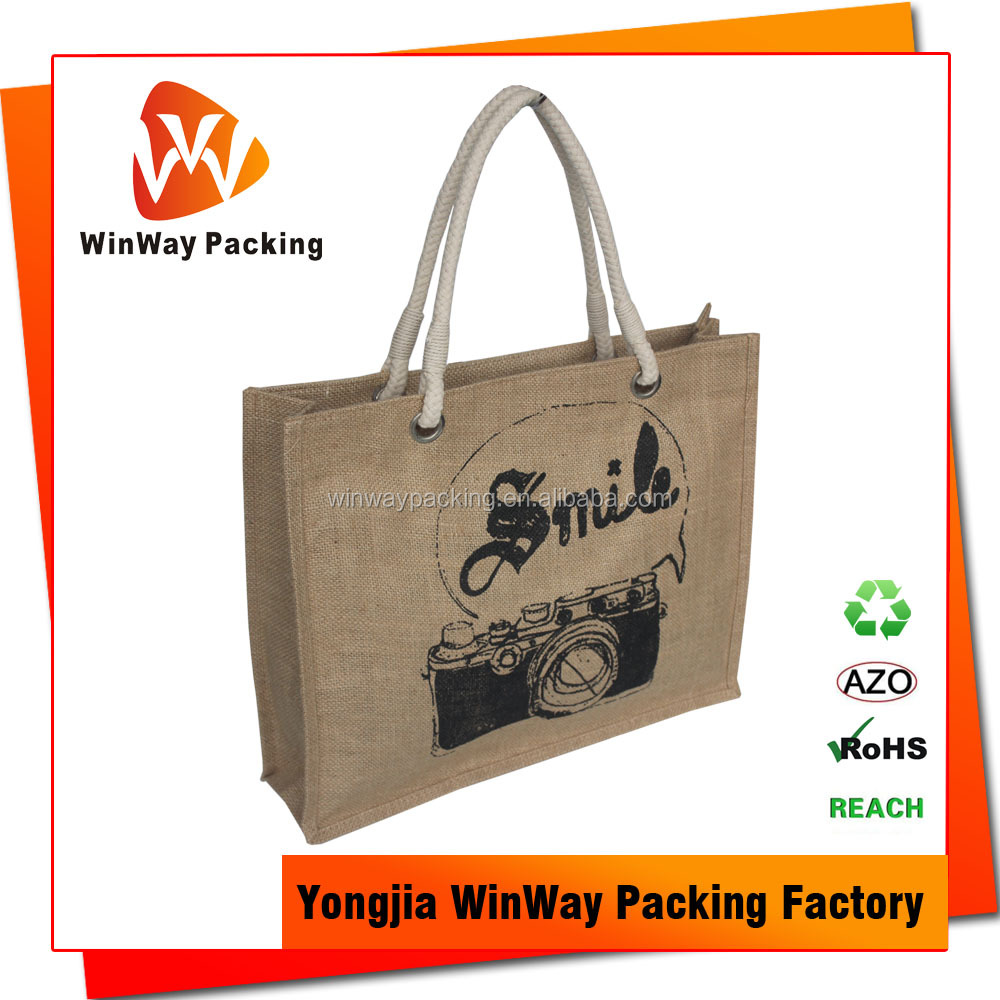 Custom Printed Handle Style Natural Jute Tote Shopping Bag