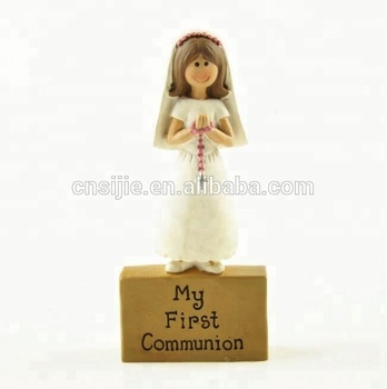 Custom Resin Girl My First Communion Girl ON BLOCK Resin Figurine