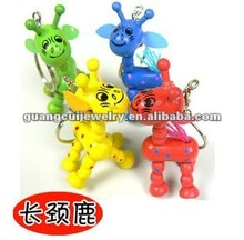 fashion giraffe keychain wood animal key chains key ring components