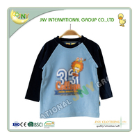 High quality fancy long sleeve round collar printed baby boy shirt