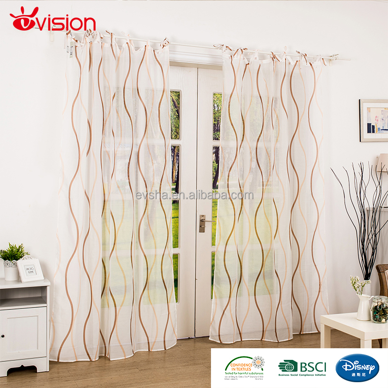 design curtains wave print ready made curtains with tiebands,office window curtains,poly-cotton optic